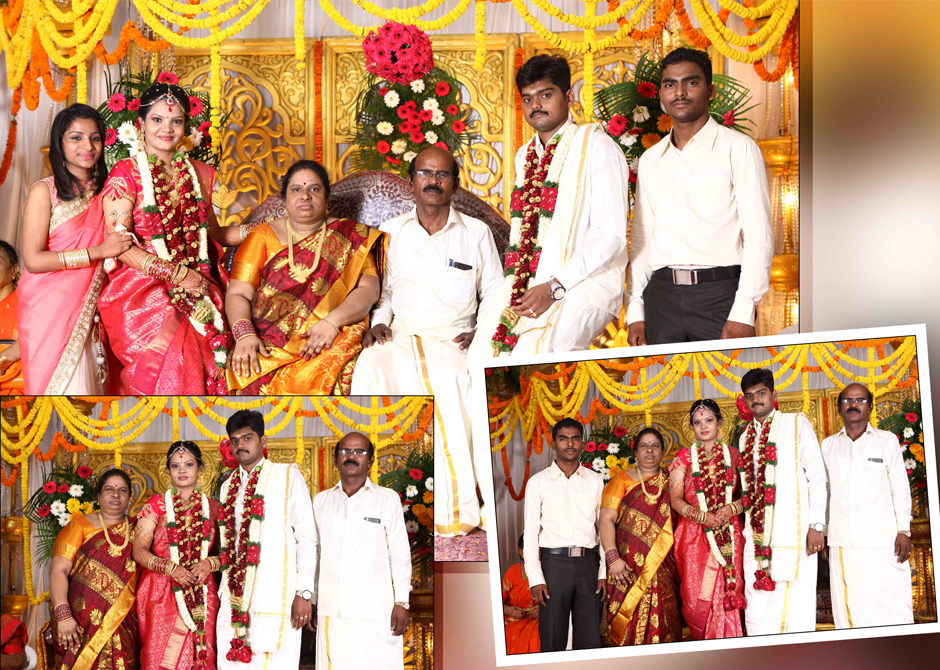 Beautiful collage image of wedding couple with their parents