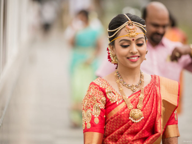 Portrait of Smiling South Indian Bride on her wedding