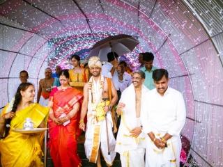 A candid click of Tamil brahmin Groom in Kashi Yatra wedding ritual