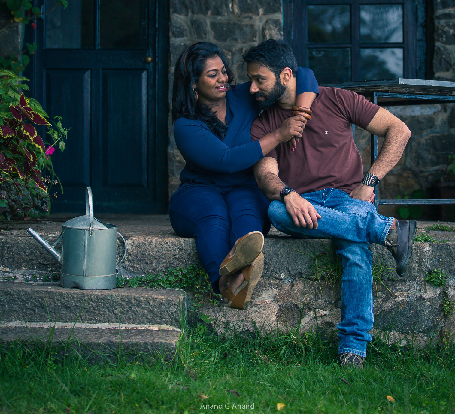 Couple enjoying their pre-wedding shoot and posing for candid photography