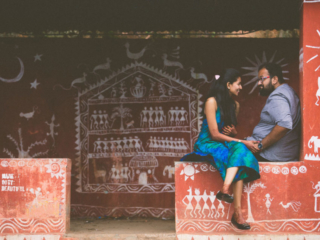 Couples pre-wedding photoshoot at the warli painting background